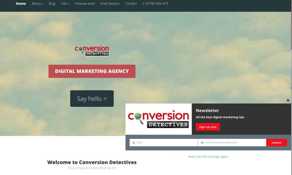Website Popup on Conversion Detectives